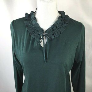 Lands' End~Ruffle & Tie Accent Collar Tee~Knit Top
